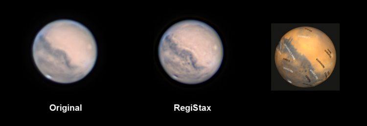 """De """"Registax-Mars"""" laat veel beter de werkelijke details zien. Ik heb de Mars Mapper wee"""