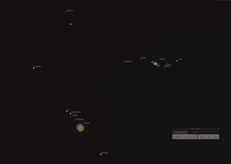 Nul komma nul 6 graden, dat is de afstand tussen de 2 planeten op 21 december. Zie de Stellarium wee