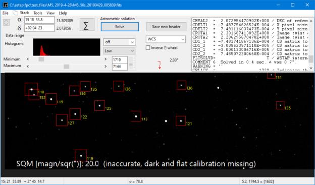 """Vandaag een nieuwe mogelijkheid toegevoegd aan ASTAP development versie 0.9.476: """"Meten van de"""
